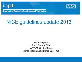 NICE guidelines update 2013