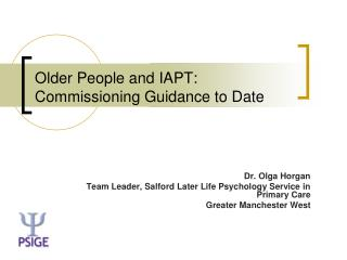Older People and IAPT:  Commissioning Guidance to Date