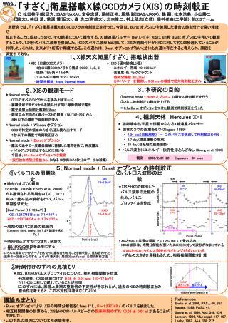 本研究では、「すざく」衛星搭載 X 線 CCD カメラの時刻較正を行った。今回は、 Burst  オプションを使用した場合の時刻付けを高い精度で