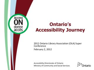 Ontario�s Accessibility Journey