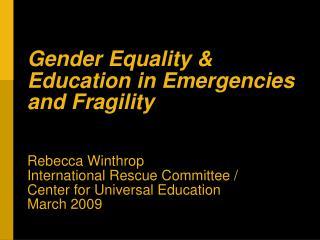 Gender INEE Session