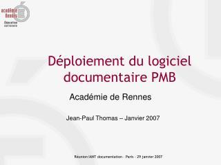 D�ploiement du logiciel documentaire PMB