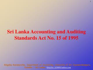 Sri Lanka Accounting and Auditing Standards Act No. 15 of 1995