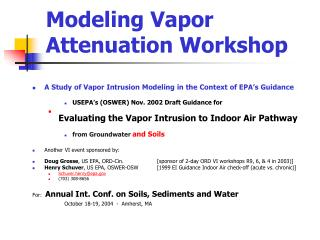 Modeling Vapor Attenuation Workshop