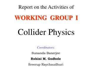 Report on the Activities of WORKING  GROUP  I Collider Physics