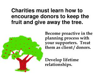 Become proactive in the planning process with your supporters.  Treat them as client / donors.