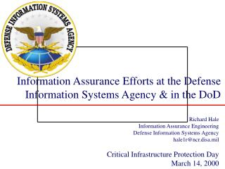 Information Assurance Efforts at the Defense Information Systems Agency & in the DoD
