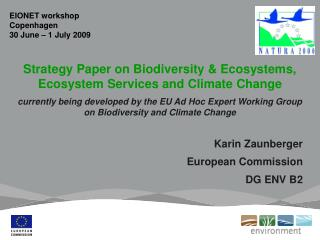 Strategy Paper on Biodiversity & Ecosystems, Ecosystem Services and Climate Change