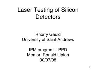 Laser Testing of Silicon Detectors