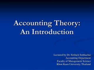 Accounting Theory:  An Introduction