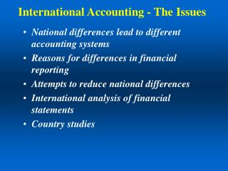 International Accounting - The Issues