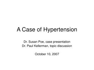 A Case of Hypertension