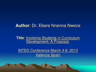 Author : Dr. Ebere Nnenna Nweze