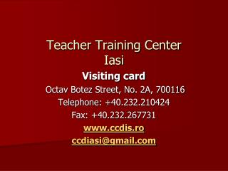 Teacher Training Center  I asi