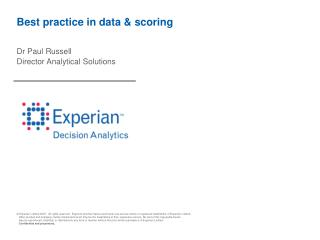Best practice in data & scoring