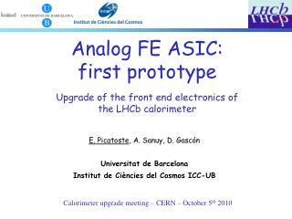 Calorimeter upgrade meeting – CERN – October 5 th  2010