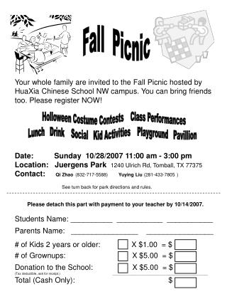 Fall Picnic Your whole family are invited to the Fall Picnic ...