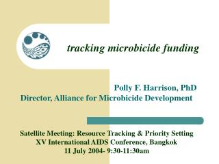 tracking microbicide funding