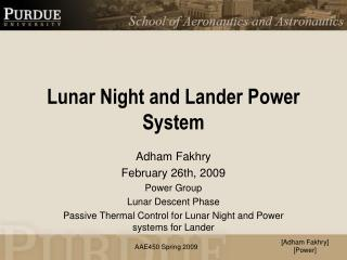Lunar Night and Lander Power System