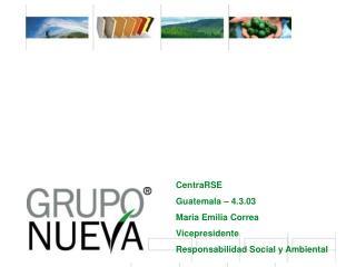 CentraRSE Guatemala � 4.3.03 Maria Emilia Correa Vicepresidente Responsabilidad Social y Ambiental
