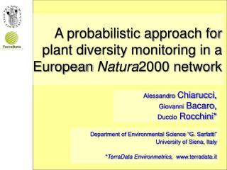 A probabilistic approach for plant diversity monitoring in a European  Natura 2000 network