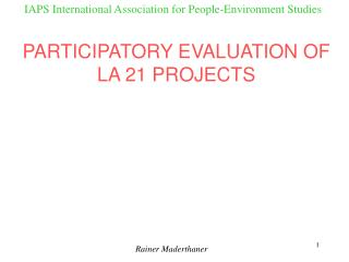 IAPS International Association for People-Environment Studies