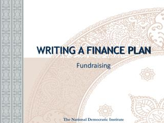 WRITING A FINANCE PLAN