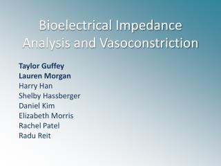 Bioelectrical Impedance Analysis and Vasoconstriction