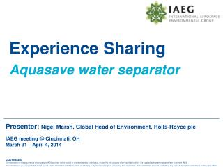 Experience Sharing  Aquasave  water separator