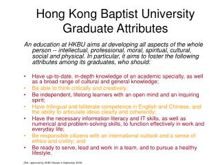 Hong Kong Baptist University Graduate Attributes