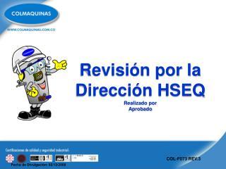 Revisi�n por la Direcci�n HSEQ Realizado por Aprobado