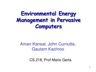 Environmental Energy Management in Pervasive Computers