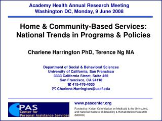 Academy Health Annual Research Meeting   Washington DC, Monday, 9 June 2008