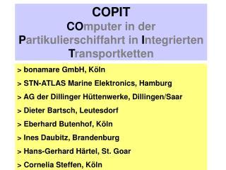 COPIT CO mputer in der  P artikulierschiffahrt in  I ntegrierten  T ransportketten
