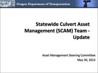 Statewide Culvert Asset Management (SCAM) Team - Update