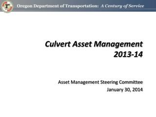 Culvert Asset Management 2013-14