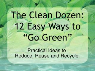 "The Clean Dozen: 12 Easy Ways to ""Go Green"""
