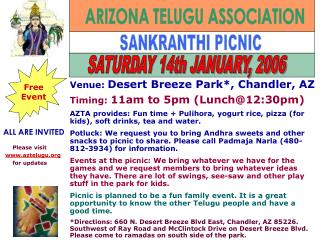 ALL ARE INVITED SANKRANTHI PICNIC