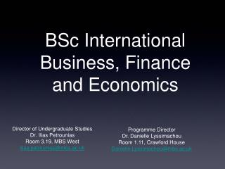 BSc International Business, Finance and Economics