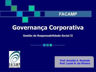 Governança Corporativa Gestão de Responsabilidade Social II