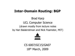 Inter-Domain Routing: BGP
