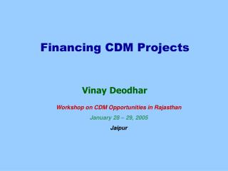 Financing CDM Projects