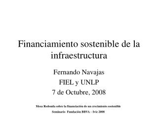 Financiamiento sostenible de la infraestructura