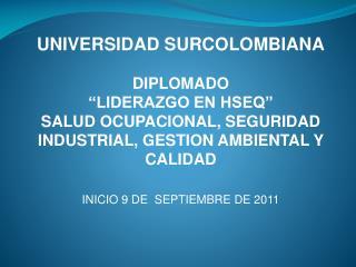 """UNIVERSIDAD SURCOLOMBIANA DIPLOMADO """"LIDERAZGO EN HSEQ"""""""