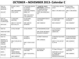 OCTOBER – NOVEMBER 2013- Calendar  C