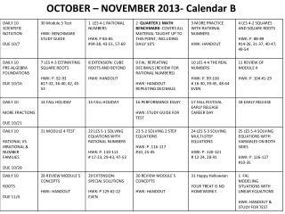 OCTOBER – NOVEMBER 2013- Calendar B