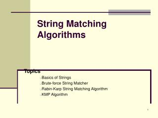 String Matching Algorithms