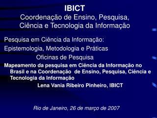 IBICT Coordenação de Ensino, Pesquisa, Ciência e Tecnologia da Informação