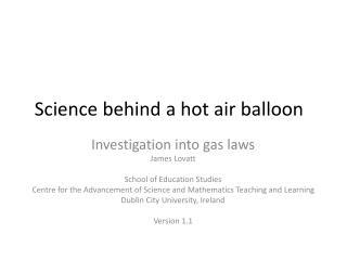 Science behind a hot air balloon
