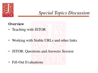 Special Topics Discussion